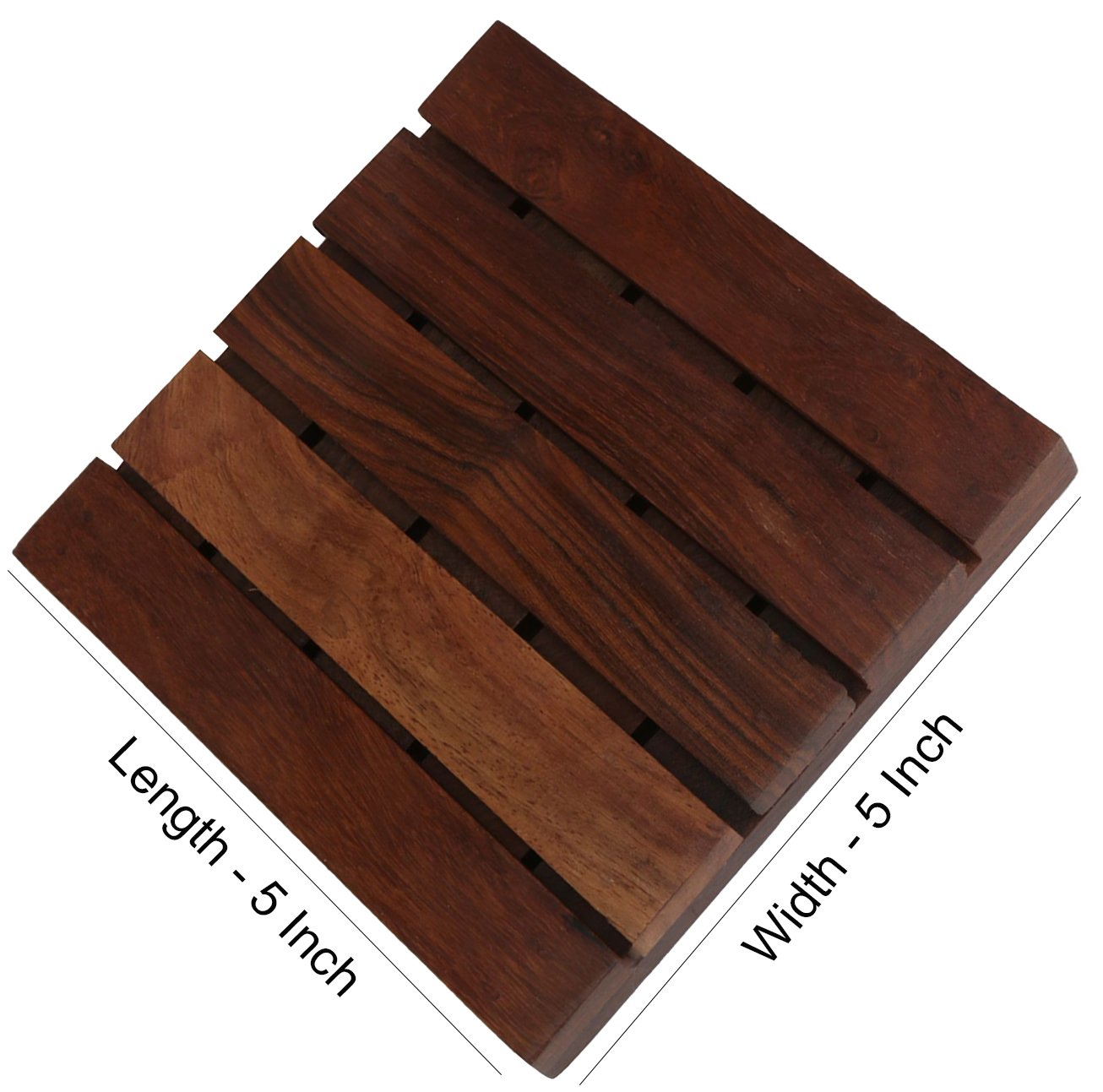 Hashcart Coasters for Drinks-Hot & Cold/Wooden Coaster Sets/Dining, Tea & Coffee Table Decorative Cocktail Coasters in Sheesham Wood | 5x5 inch | Set of 6 by Hashcart (Image #3)