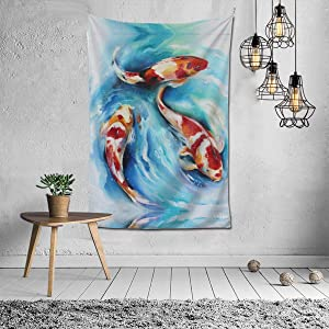 N/ A Decor Watercolor Oil Painting Koi Carp Fish Tapestry Mandala Wall Art Home Decoration Hanging for Bedroom Living Room Dorm, Window Curtain Picnic Mat