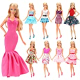 Barwa 5pcs Fashion Mini Dress Handmade Short Party Gown Clothes For 11.5 inch Barbie Doll