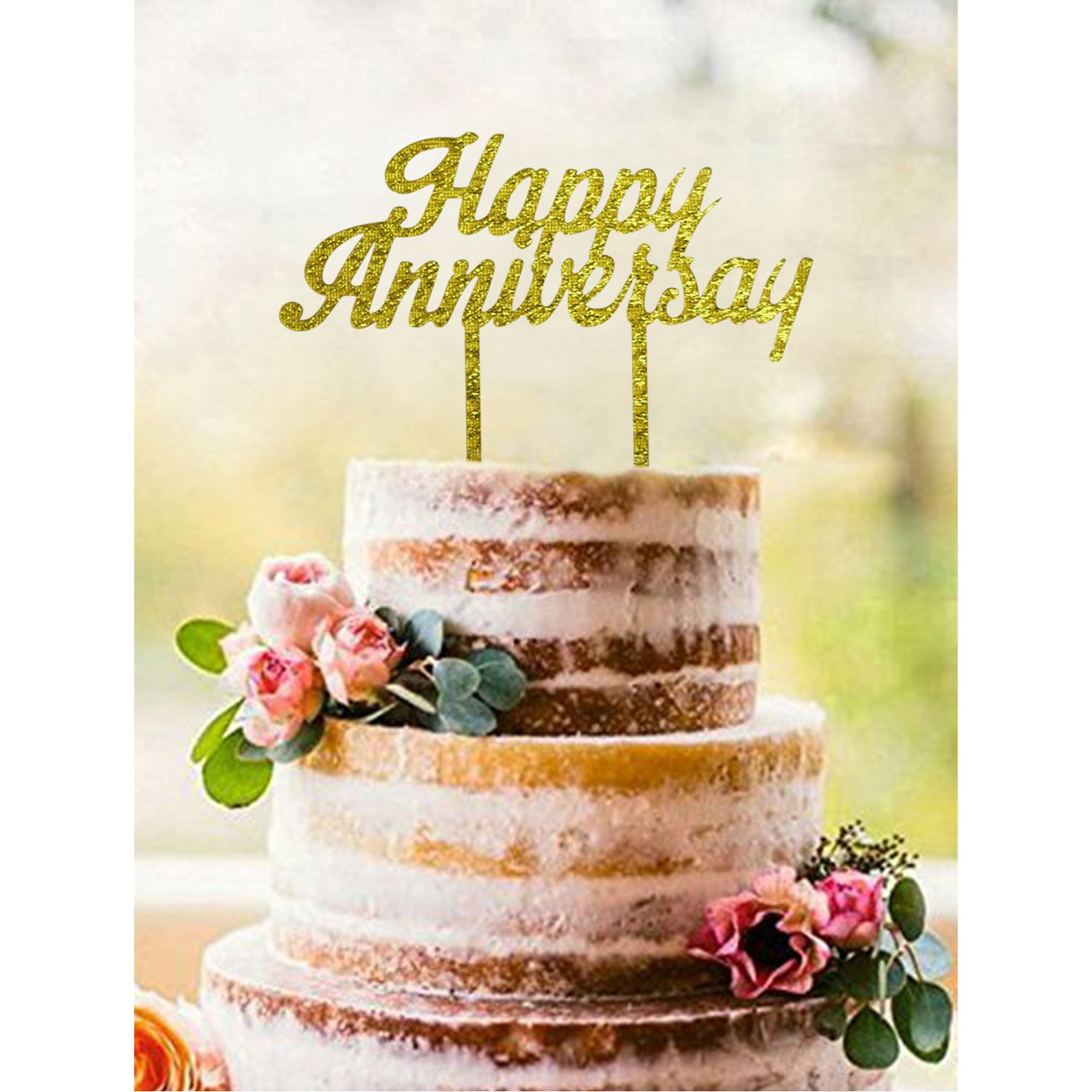 Amazon.com: Gold HAPPY ANNIVERSARY Acrylic Cake Topper - Wedding ...