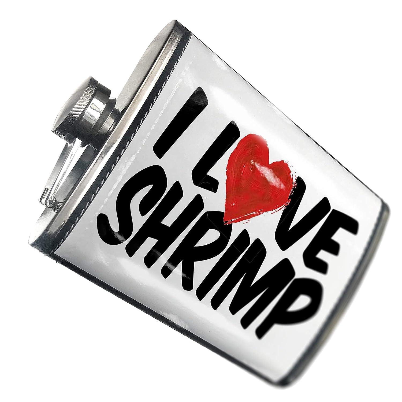 8オンスフラスコステッチI Love Shrimpステンレススチール – Neonblond   B00QQVRAPA