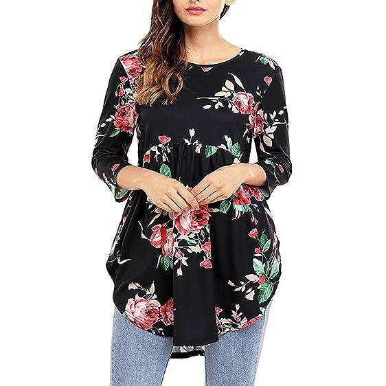 Feidol Women Casual Floral Print 3 4 Ruffle Detailed Sleeve Tunic