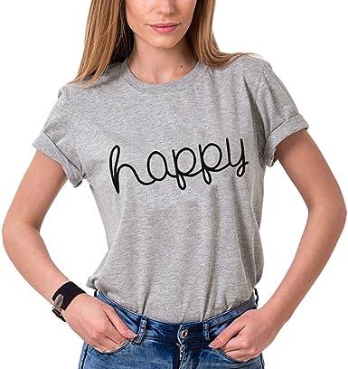 Mejores Amigas Shirt Algodón Impresión Happy Camiseta Manga Corta T-Shirt Best Friend Cuello Redondo Verano Dulce para Mujer Elegante Casual Moda(Gris,XL): Amazon.es: Ropa y accesorios