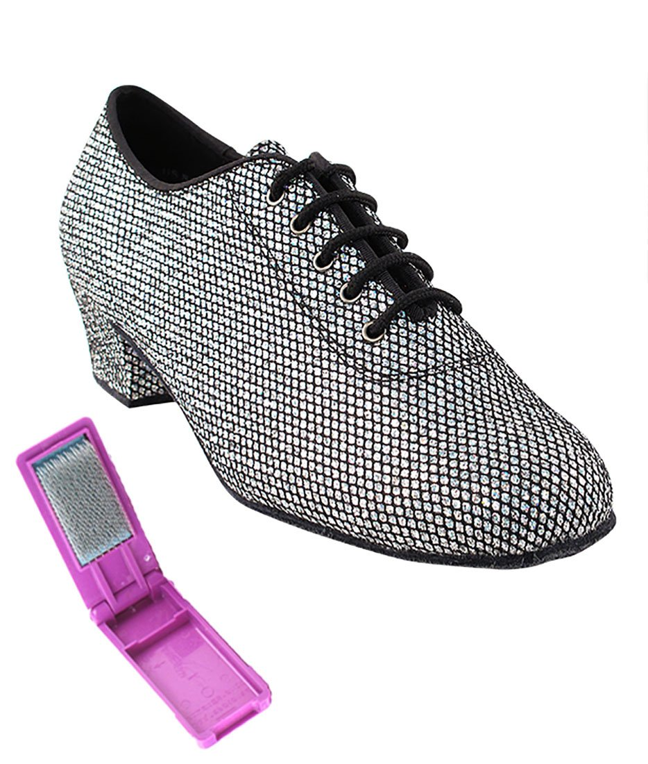 Very Fine Ballroom Latin Tango Salsa Dance Shoes for Women - 2001-1.5 inches Heel + Foldable Shoe Brush Bundle-Black Sparklenet - 5