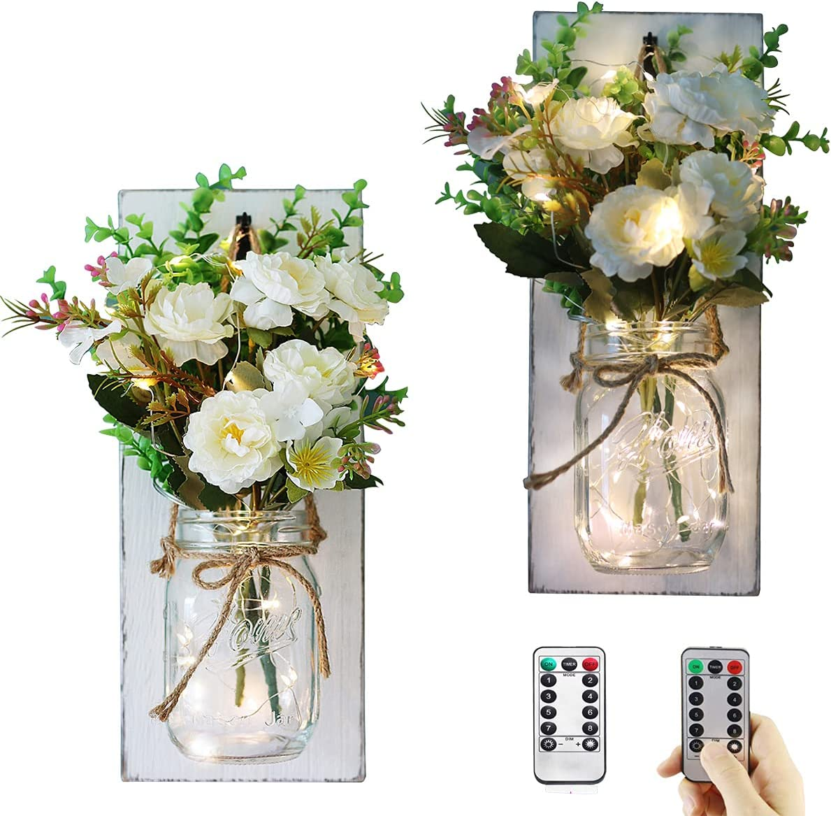 Rustic Home Decor Mason Jar Sconces, Bathroom and Living Room Decorations with Timer Remote Control Led Fairy Lights, Hanging Vintage Wood Art Goods and Flower Decor. Farmhouse kitchen wall Decor.