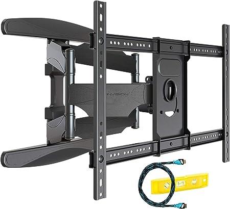 Invision Soporte de Pared para TV Ultra Fuerte – para Pantallas Curvo Plasma LCD LED 94-178cm (37-70 Pulgadas) Doble Brazo Giratorio Inclinable – con Cable HDMI 1080p y Nivel de Burbuja (HDTV-DXL):