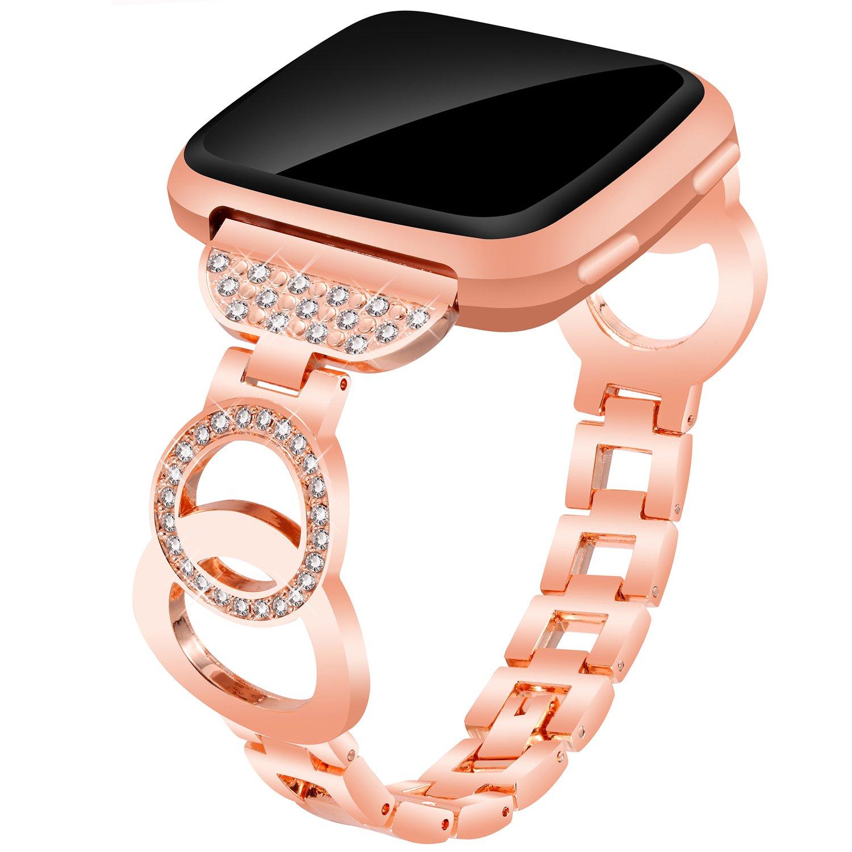 Voma for Fitbit VersaバンドレディースメンズスモールLarge ,ステンレススチール交換用メタルストラップブレスレット調節可能なWristbands for Fitbit Versa Smartwatch B07C75RK4L Bangle, Rose Gold Bangle, Rose Gold