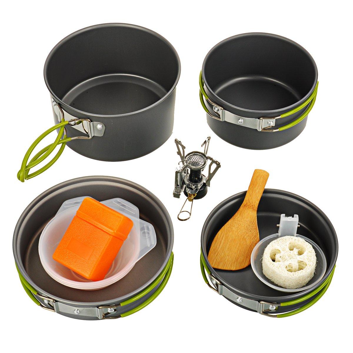 ポータブルアウトドアキャンプ料理Pots Pans +ミニバーナーストーブセット2 ~ 3人の B0793FSJR5