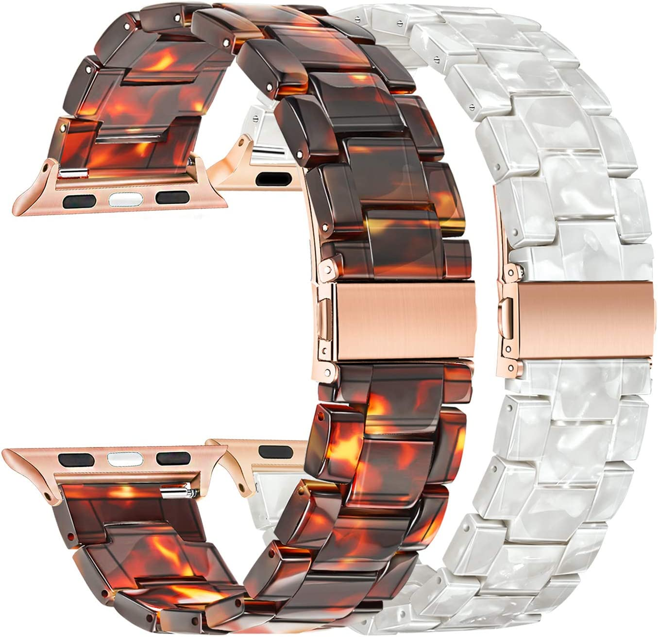 TRUMiRR Compatible with Apple Watch Band 38mm 40mm Women, 2 Pack Fashion Resin Watchband Rose Gold Stainless Steel Buckle Strap Bracelet for iWatch SE Series 6 5 4 3 2 1 All Models