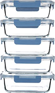 34OZ Glass Meal Prep Containers with Leakproof Lids,5-Pack BPA-Free Grey Blue Glass Food Storage for Kitchen
