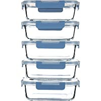C CREST 34OZ Glass Meal Prep Containers with Leakproof Lids,5-Pack BPA-Free Grey Blue Glass Food Storage for Kitchen