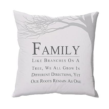 Amazon.com: Cojín con cita de raíces familiares (19.7 x 19.7 ...