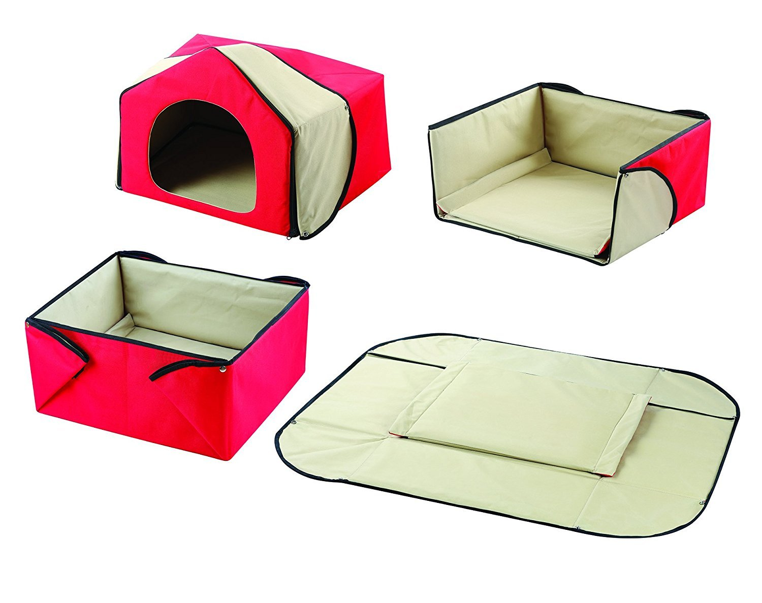 Pet Bed House Congreenible 4-in-1 House, Bed, Mat, and Lounge