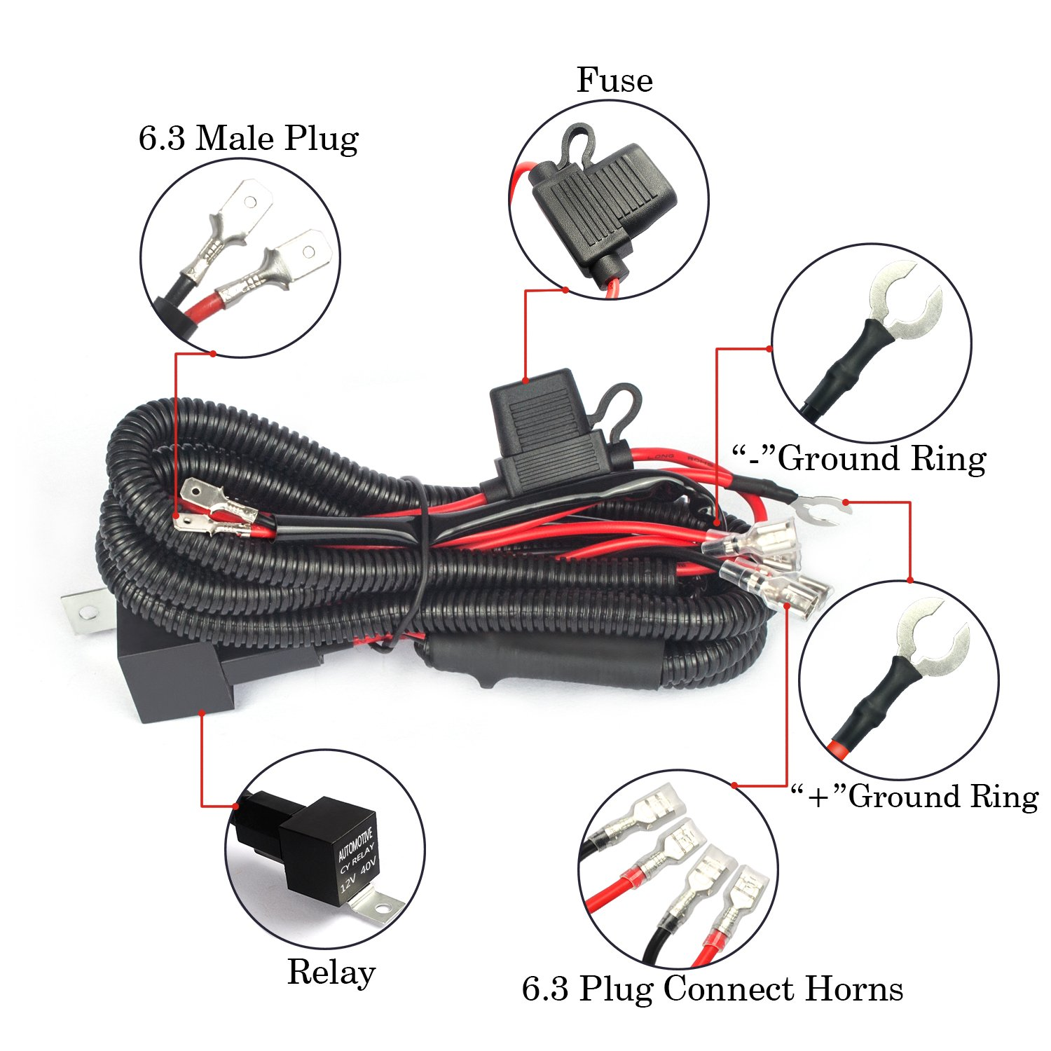 Jhe Horn Wiring Harness Kits Car Truck Grille Mount Blast Tone Horns Hella Supertones Diagram 16awg Lighting Electrical Amazon Canada