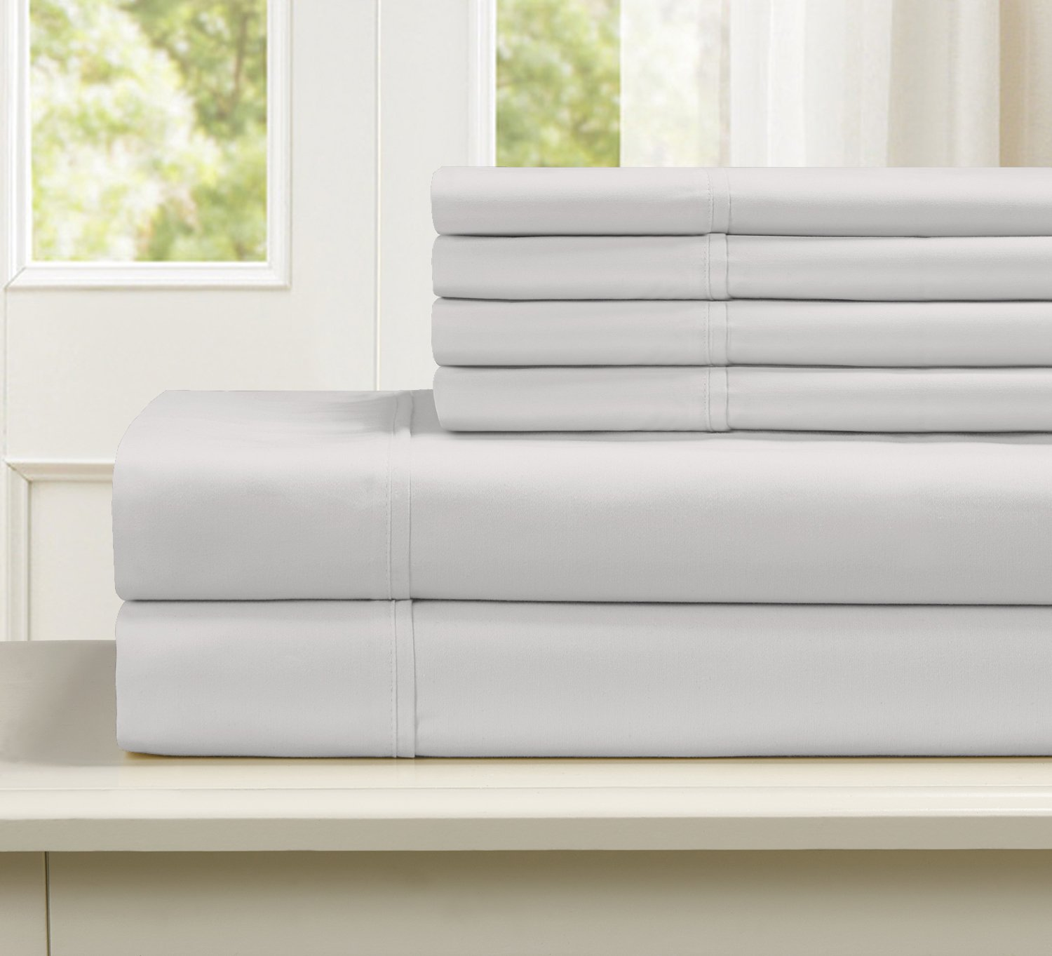 Blissful Living 800 Thread Count Cotton Rich 4-6 Piece Sheet Set - INCLUDES EXTRA PILLOWCASE(S)! Super Soft, Hotel Quality Luxury (King, Off-White)
