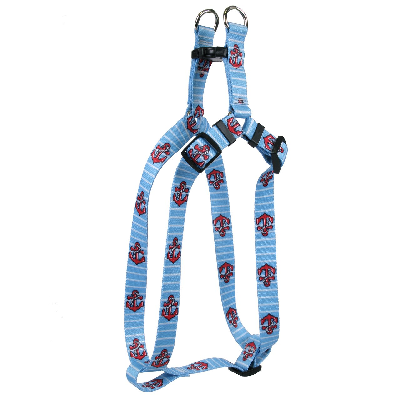 Yellow Dog Design Anchors on Blue Stripes Step-in Dog Harness, Small
