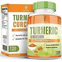 Curcuma Curcumine 600mg - Curcuma Avec Piperine - Convient aux Végétariens - Augmente la Biodisponibilité - Pour Hommes et Femmes - 120 Capsules (4 Mois d'Approvisionnement) Earths Design