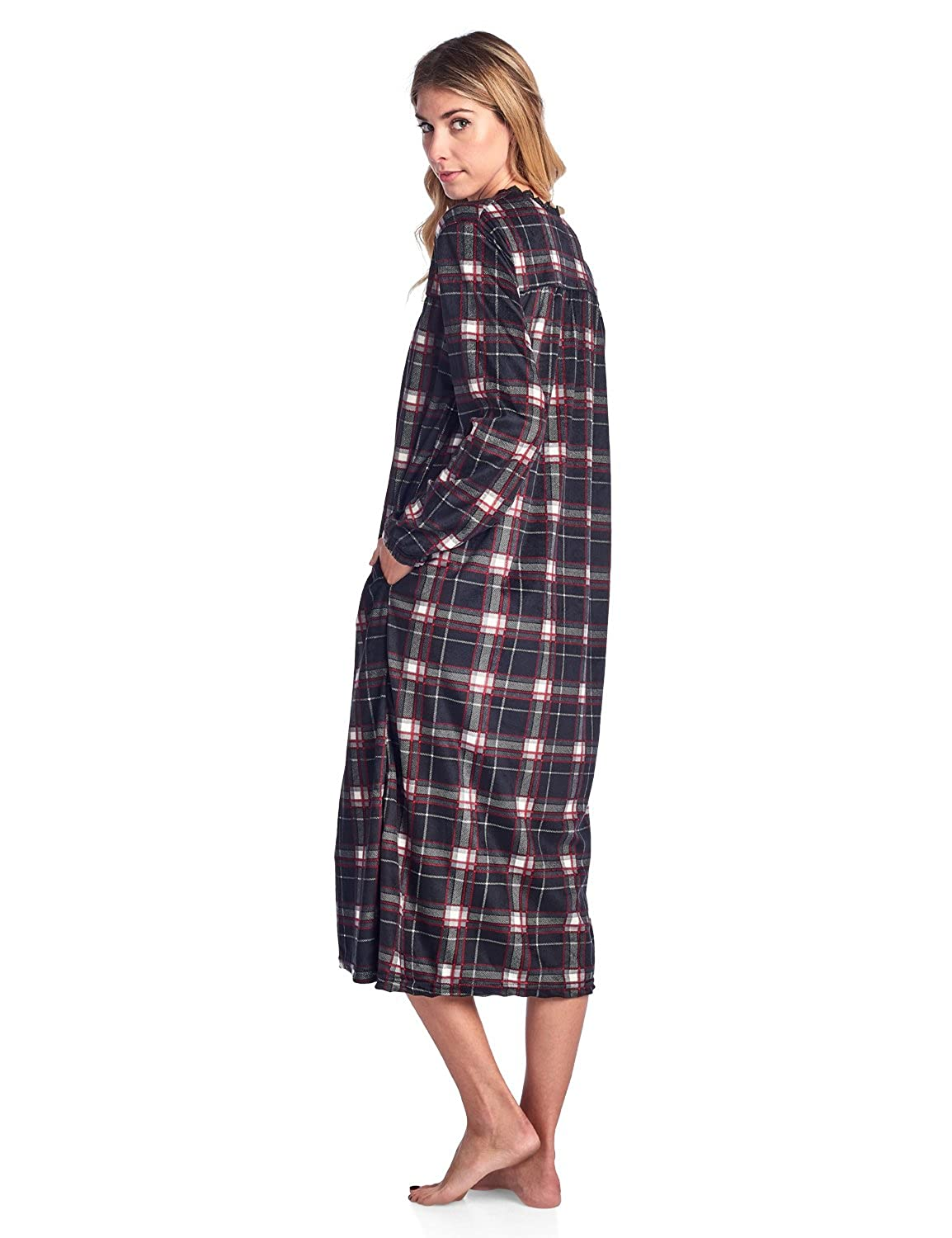 Ashford & Brooks Women\'s Micro Fleece Long Sleeve Nightgown at ...
