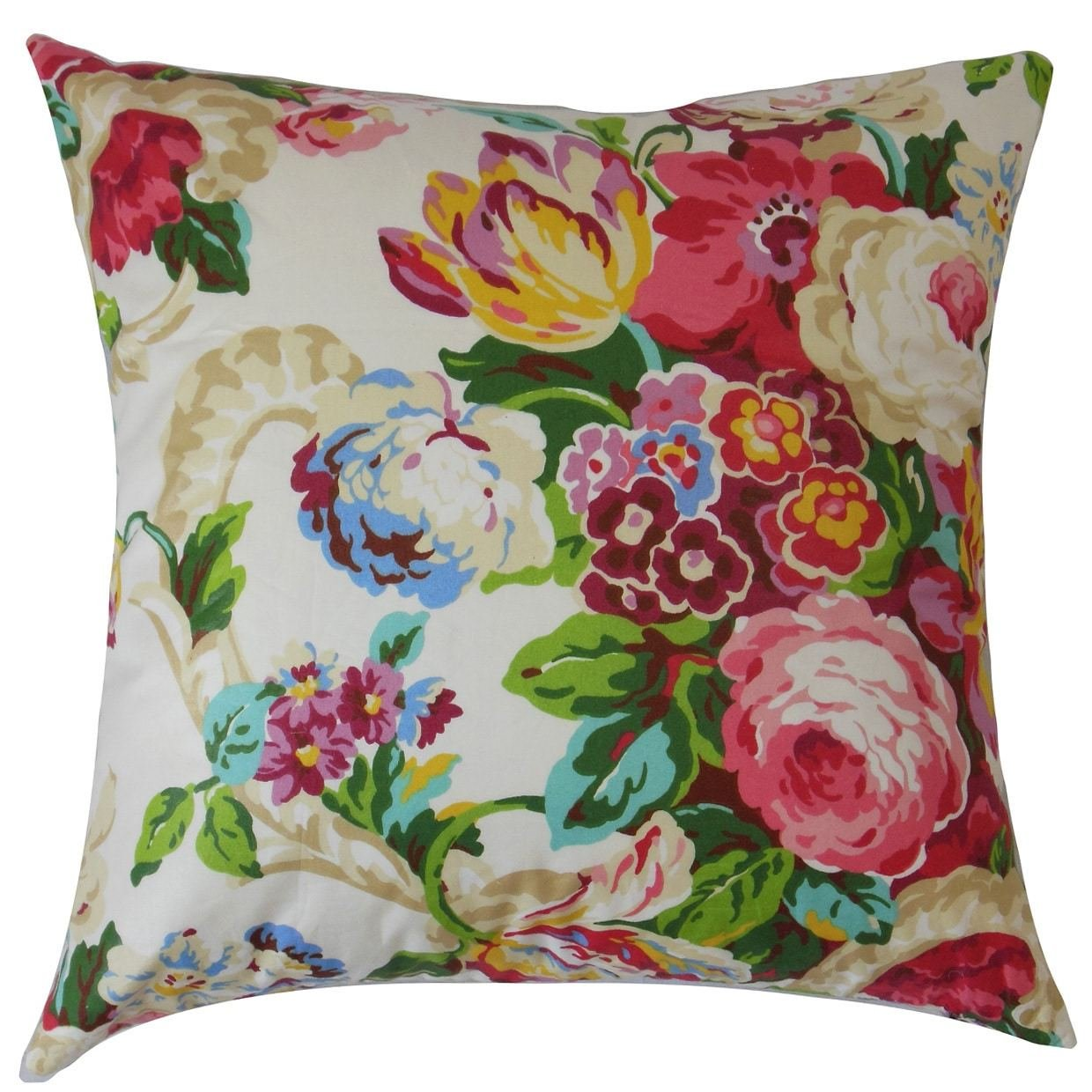 1 Piece Multi Floral Pattern Pillow Sham Queen Size, Beautiful Whimsical Colorful Garden Flowers Print, Spring-Inspired Theme Pillow Covers, Bohemian Style, Vibrant Colors, Extra Soft & Comfy, Cotton