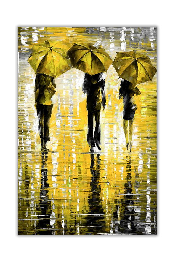AT54378D: Portrait Three Blue Umbrellas By Leonid Afremov Oil Painting Re-Print Abstract Art Poster Wall Decoration Pictures Size A3 (29.7cm x 42cm) Canvas It Up