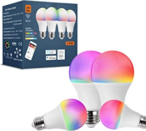Smart Light Bulbs Work with Alexa Echo Google Home IFTTT Without Hub,LED RGB WiFi Color Changing Dimmable,A19 E26 2.4Ghz 4 Pack