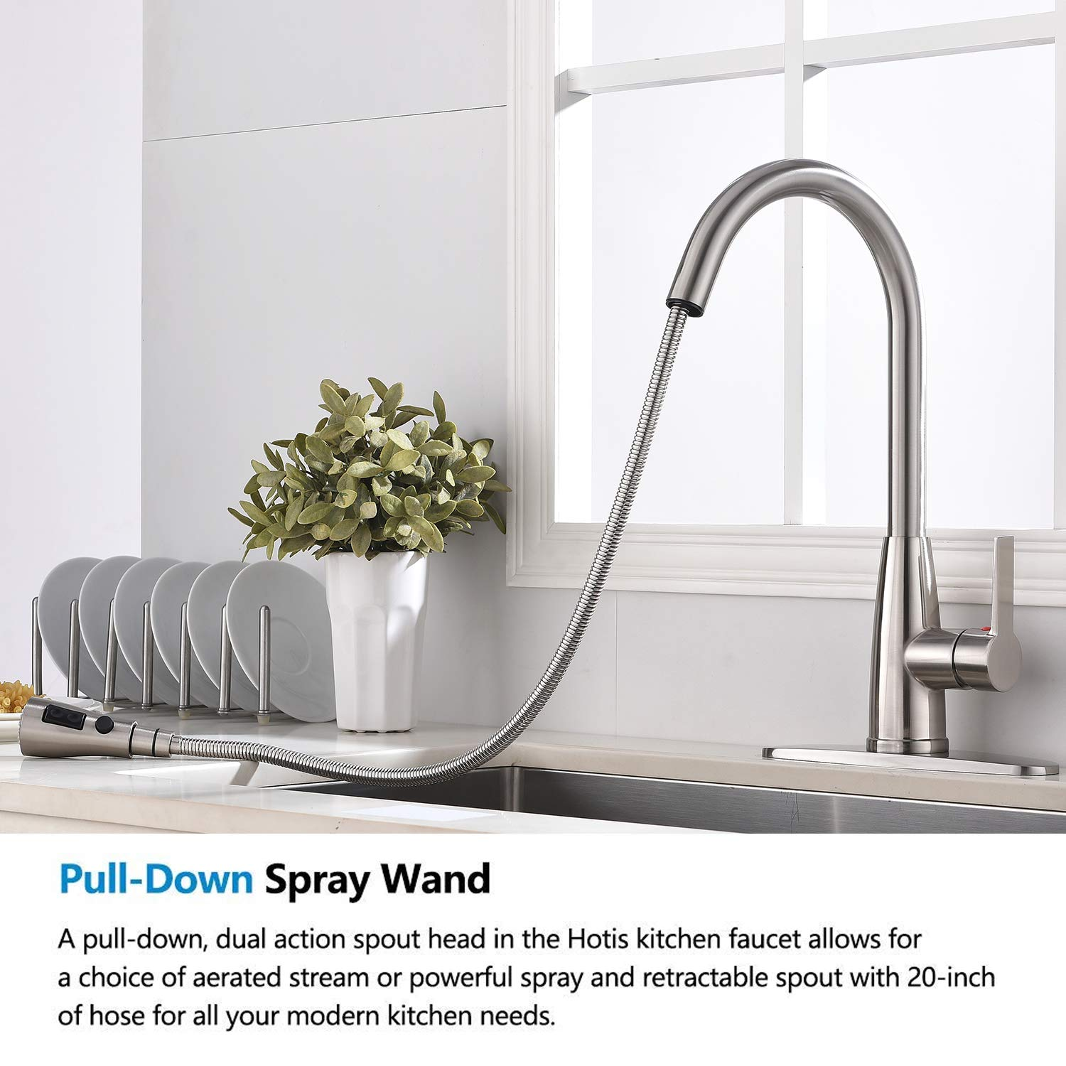 Hotis Modern High Arc 1 or 3 Hole Single Handle Stainless Steel Prep Sprayer Pull Out Pull Down Sprayer Kitchen Sink Faucet, Brushed Nickel with Deck Plate by HOTIS HOME (Image #4)