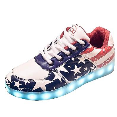56e57ef5c36e Gaorui Damen LED-Licht Leuchten Sneakers Stern Fluorescence Sportschuhe mit USB  7 Farbe