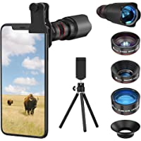 Selvim Phone Camera Lens Phone Lens Kit 4 in 1, 22X Telephoto Lens, 235° Fisheye Lens, 0.5X Wide Angle Lens, 25X Macro Lens, Compatible with iPhone 11 10 8 7 6 6s Plus X XS XR Samsung - Black