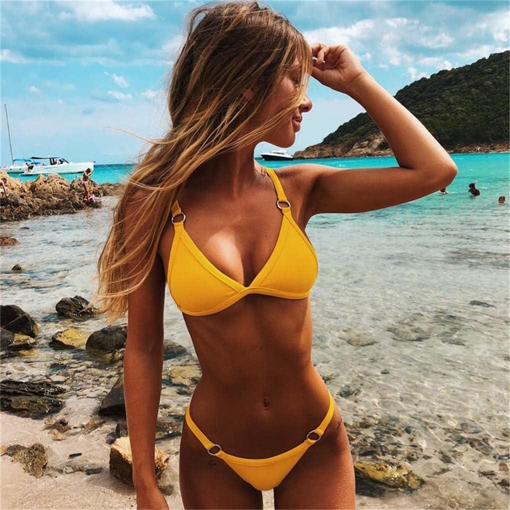 N //A Heiyut 2020 Estate Nuovo Costume da Bagno Mare Due Pezzi Bikini Tinta Unita Imbottito con Reggiseno da Donna Bikini con Perizoma