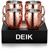 Deik Moscow Mule Mugs, 100% Handcrafted Copper Mule Cup Set of 4, Food-safe Copper Mugs 16 Ounce with Brass Handle and Stainless-Steel Lining, for Chilled Drinks