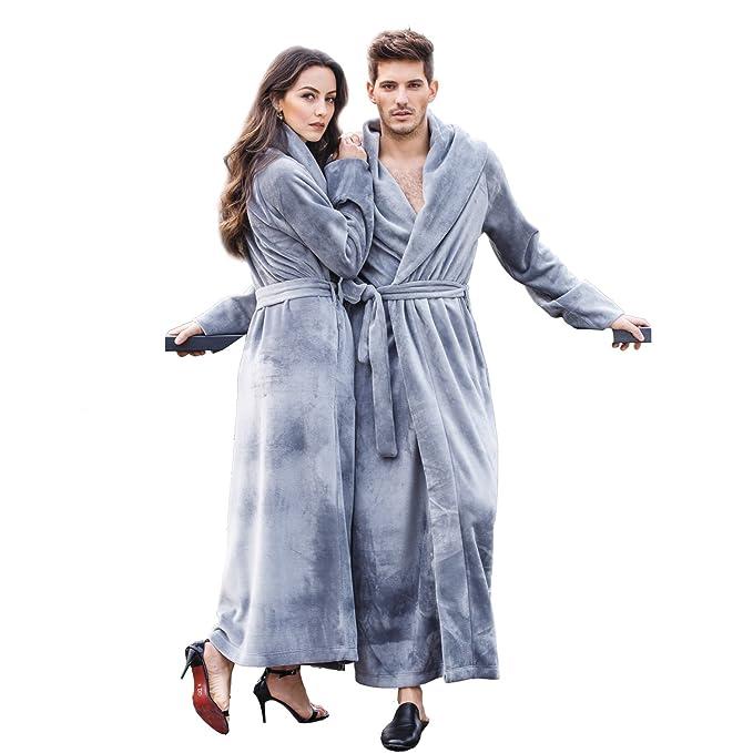 7 VEILS Women and Men Unisex Microfleece Flannel Floor Length Bathrobes  Grey-S abd22578a