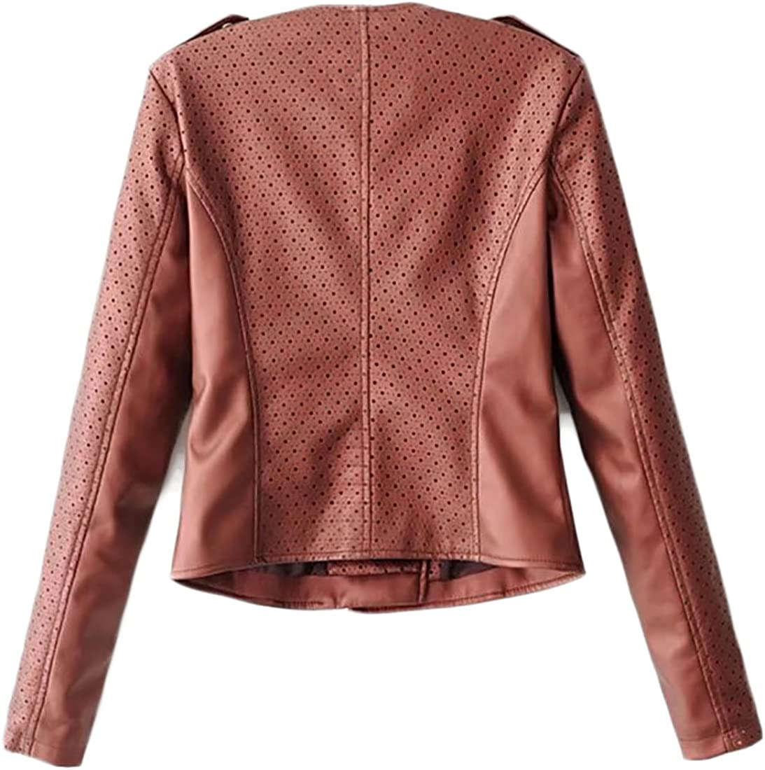 KXP Womens Oblique Zip Faux Leather Motorcyle Short Jacket Coat Wine Red Small