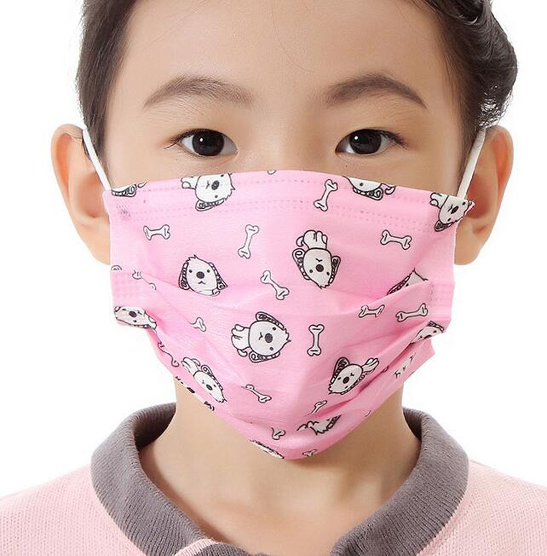 Flyusa 100 Pcs Cute Face Masks for Kids Children,3 Layer Colorful Print Disposable Non-Woven Fabric Breathable Earloop Face Mask Dust Filter Mouth Cover