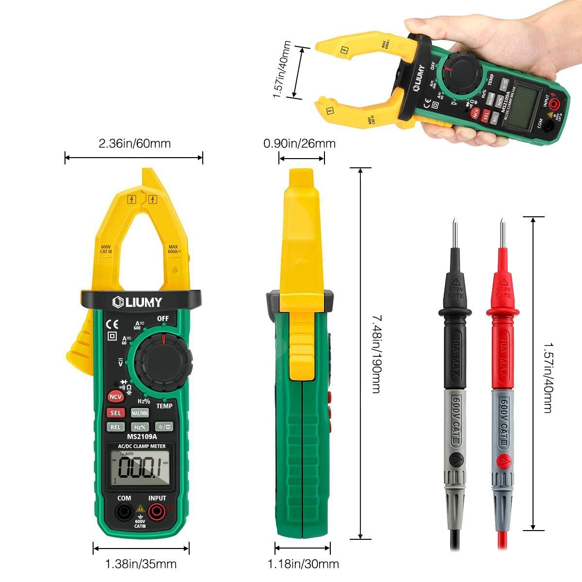 Digital Clamp Meter, LIUMY Auto-Ranging AC/DC Clamp Multimeter with Analog Function, NCV, Work Light/ Memory peak, Non- contact Voltages/ Frequency/ Resistance/ Capacitance/ Connections/ Diodes by Liumy (Image #2)