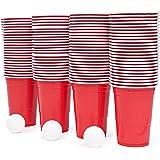 115 Piezas Juego de Beer Pong| 100 Vasos de Plástico Rojo, 15 Bolas| Resistente y No Tóxico| Juego de Beber Clásico para…