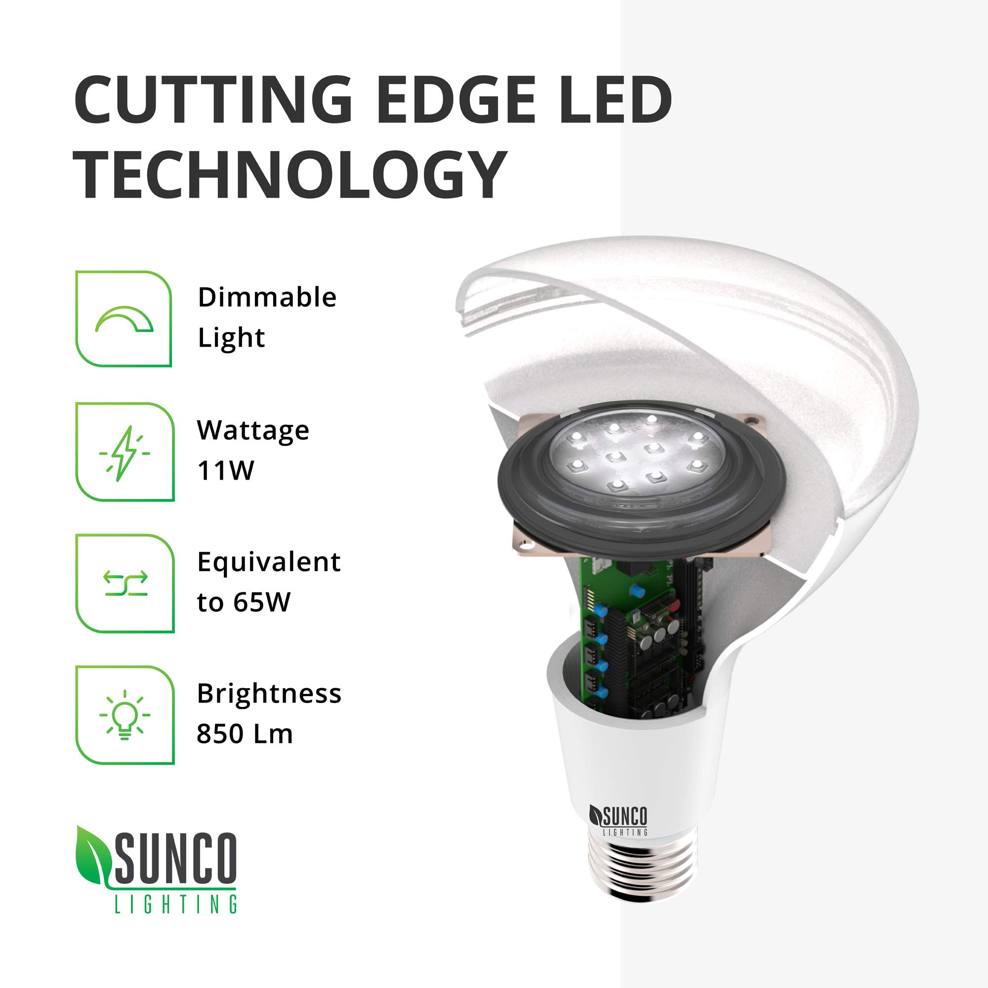 Sunco Lighting 48 Pack BR30 LED Bulb 11W=65W, 2700K Soft White, 850 LM, E26 Base, Dimmable, Indoor Flood Light for Cans - UL & Energy Star by Sunco Lighting (Image #5)