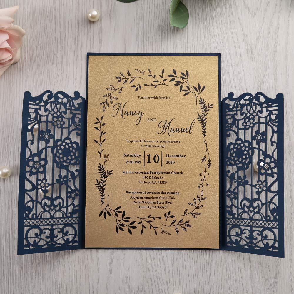Doris Home Laser Cut Navy Blue Invitation With Rsvp Cards Bridal Birthday Invitation Wedding Dinner Invites Engagement Reception Anniversary