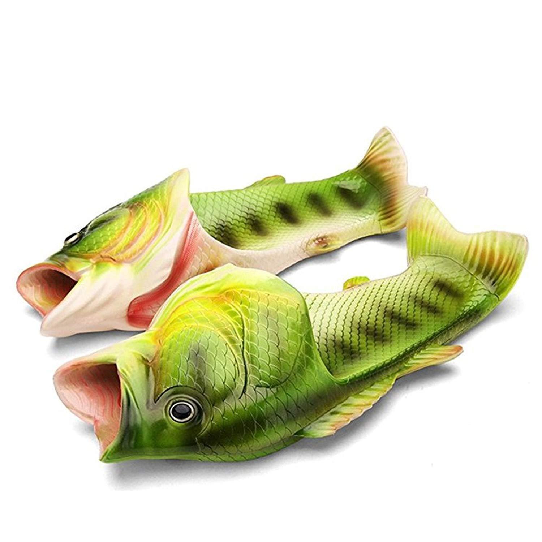 Fish Slippers for Men Women Fish Flip Flops Slides Sandals Beach Shoes Creative Gag Gifts(Women 8.5-9.5/ Men 7-8=EU 40/41,Green)
