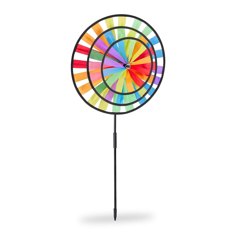 Relaxdays HBT: 73,5 x 35,5 x 15 cm para ni/ños para balc/ón o terraza Windrad Conector de jard/ín en dise/ño Arco Iris