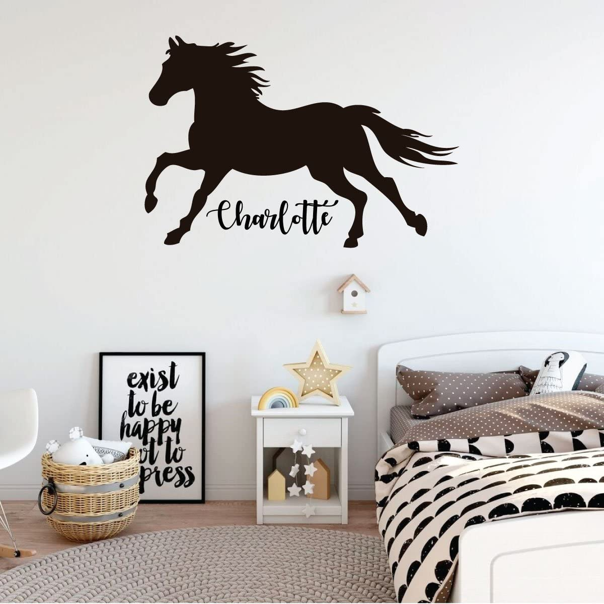 Room Wall Decor - Horse with Customized Name Rustic Vinyl Decal Stickers for Home in Teens, Girls, Boys Bedroom, Bathroom, Playroom, or Nursery - Custom Sizes and Colors Match Any Themed Living Space