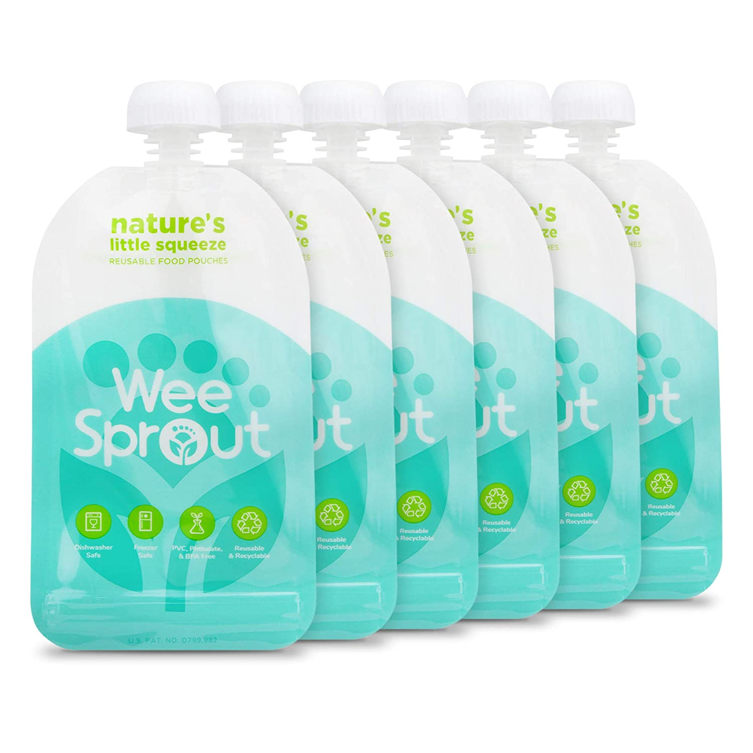 WeeSprout Double Zipper Reusable Food Pouches | 6 Pack 5 fl oz Size Pouches | Blue