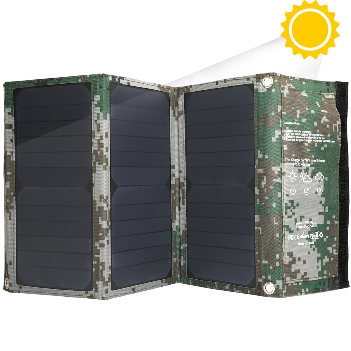 Friengood Foldable Solar Panel Charger 22W, Portable Waterproof Solar Powered Battery Charger with Dual USB Ports for iPhone, iPad, Samsung Galaxy, Camera and Other USB 5V Devices - Camouflage
