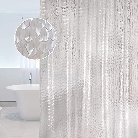 New Bathroom Curtain 3D Water Cube Mold /& Mildew Free Shower Curtains with Hooks
