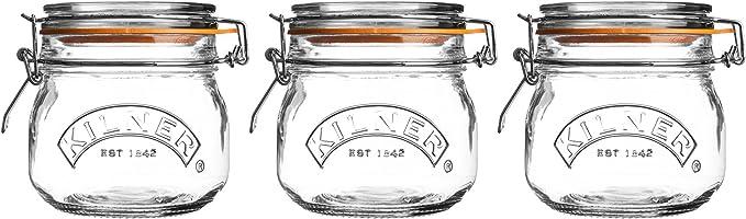 Kit Pote Vidro com 3 Peças, Kilner 401255, Transparente, Kilner, 401255, Transparente