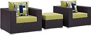 Modway Convene Wicker Rattan 3-Piece Outdoor Patio Furniture Set in Espresso Peridot