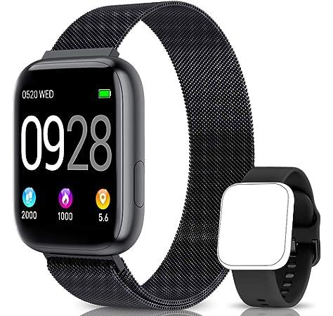AIMIUVEI Smartwatch, Reloj Inteligente Mujer Hombre IP67 con Pulsómetro, 1.4 Inch Smartwatch Presión Arterial Monitor de Sueño GPS Podómetro Pulsera Actividad Inteligente Compatible con iOS y Android: Amazon.es: Electrónica