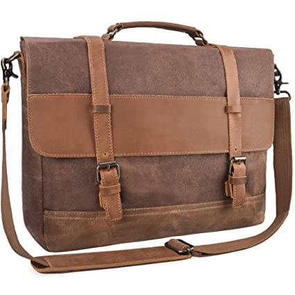 Mens Messenger Bag Waterproof Canvas Leather Computer Laptop Bag 15.6 Inch  Briefcase Case Vintage Waxed Canvas 2b6668f90125b