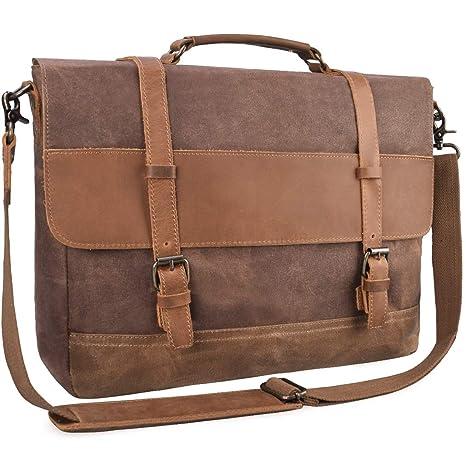 a2b024adff84 Mens Messenger Bag Waterproof Canvas Leather Computer Laptop Bag 15.6 Inch  Briefcase Case Vintage Waxed Canvas Large Satchel Cross-body Shoulder Bag  ...