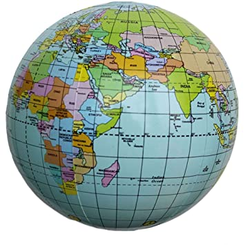 Amazon inflatable pvc english world earth 15 inch globe atlas inflatable pvc english world earth 15 inch globe atlas map beach ball geography education toy gumiabroncs Image collections