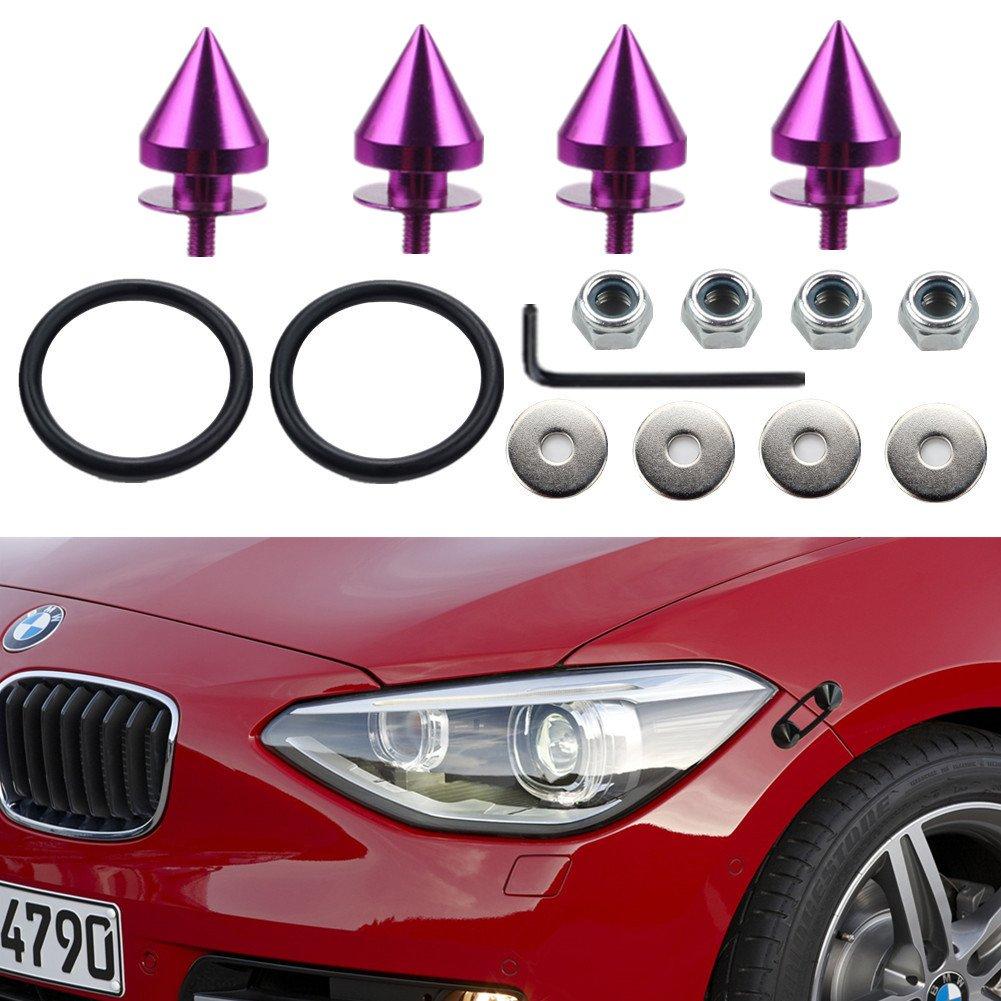 Dewhel New SPIKED ALUMINUM JDM Quick Release Fasteners For Car Bumpers Trunk Fender Hatch Lids Kit Color Purple